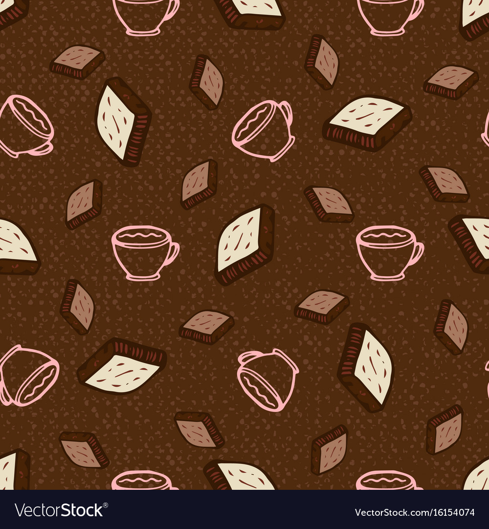 Seamless pattern with coffee and chocolate