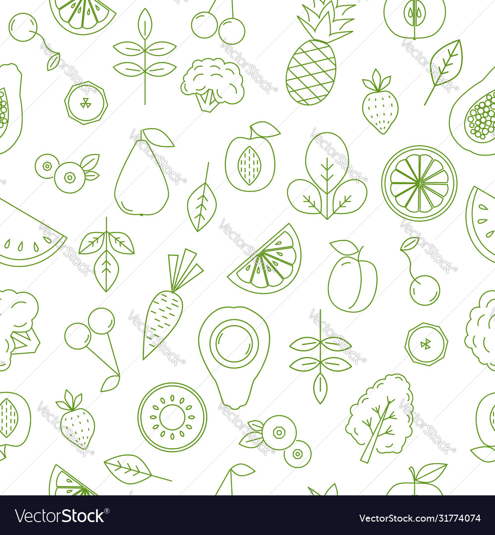 Seamless pattern with fruits and vegetables