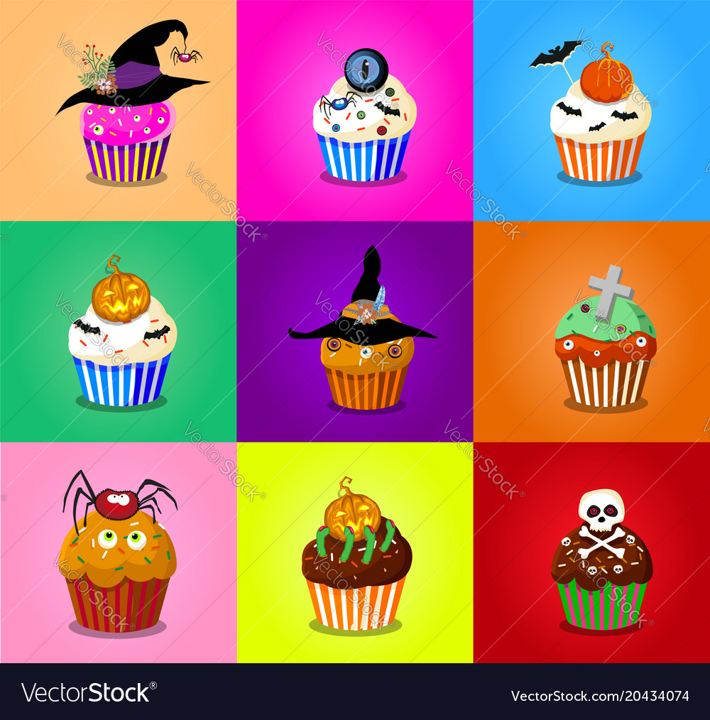 Set of cute halloween cupcake icons on multicolor