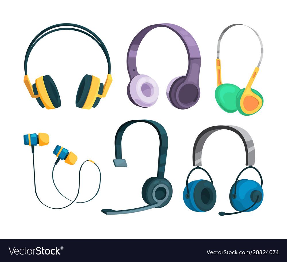 Set of various headphones