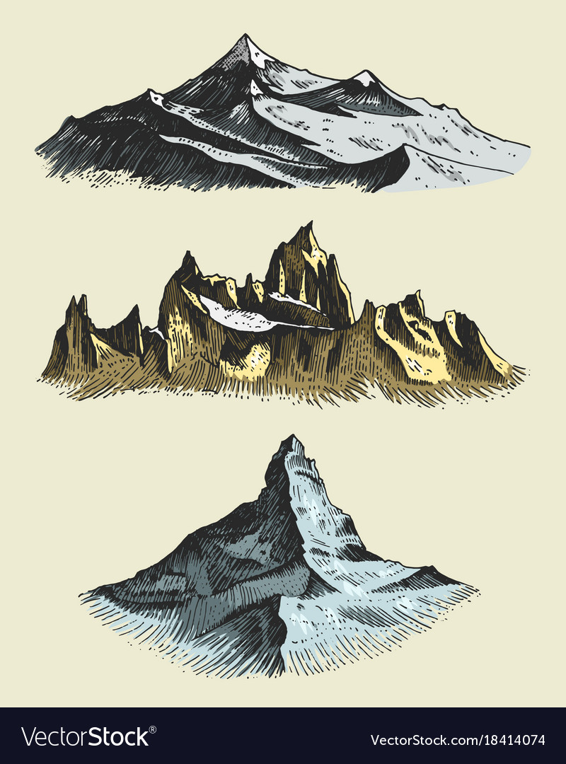 Set of vintage old engraving with mountains peaks
