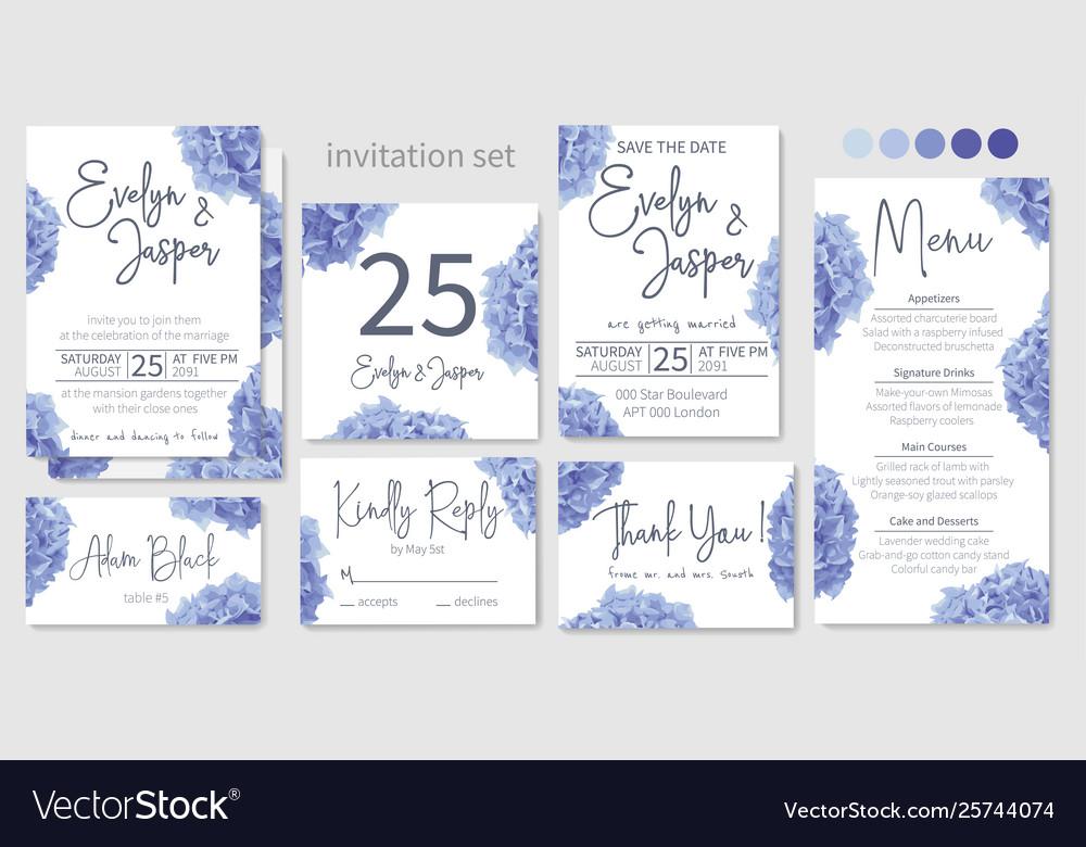 Set wedding invitations floral invitations