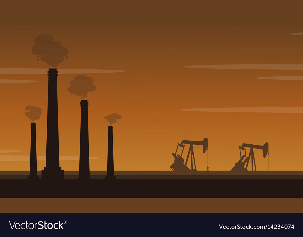 Silhouette of pollution industry landscape