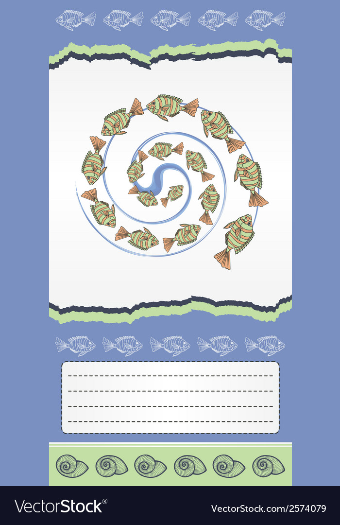 Abstract template for card with fishes