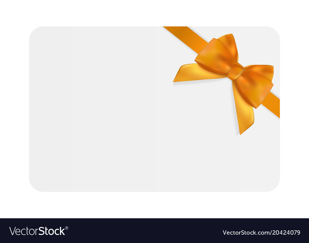 Blank Gift Card Template With Orange Bow And Vector Image - Blank gift card template