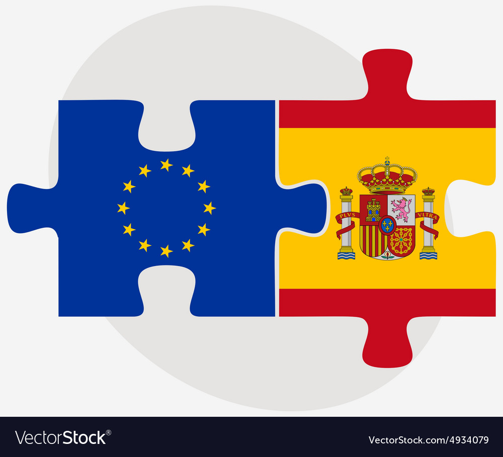 european union and spain flags royalty free vector image