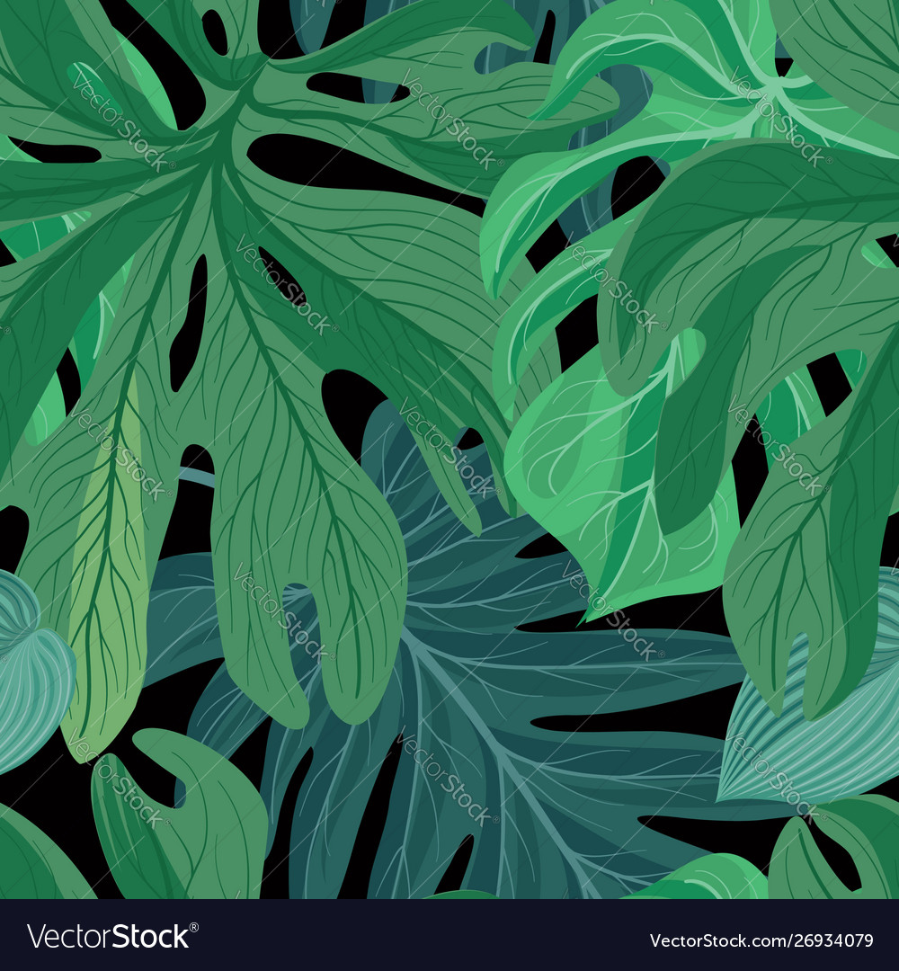 Floral abstract leaf tiled pattern tropical