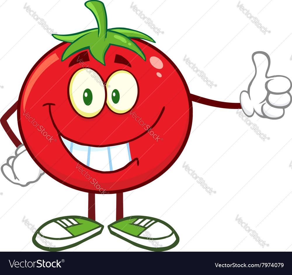 happy tomato cartoon giving the thumbs up vector image rh vectorstock com cartoon tomato with eyes cartoon tomato images