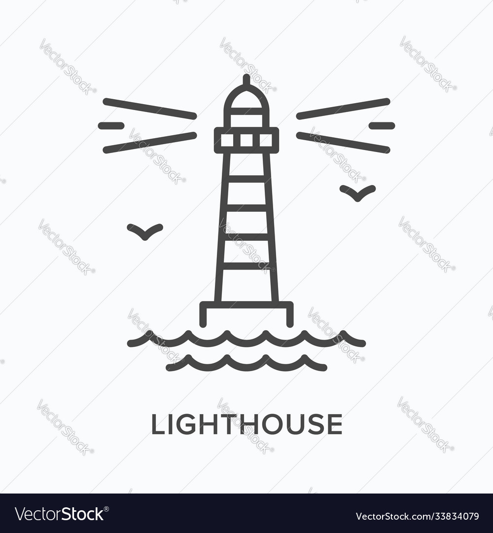 Lighthouse flat line icon outline