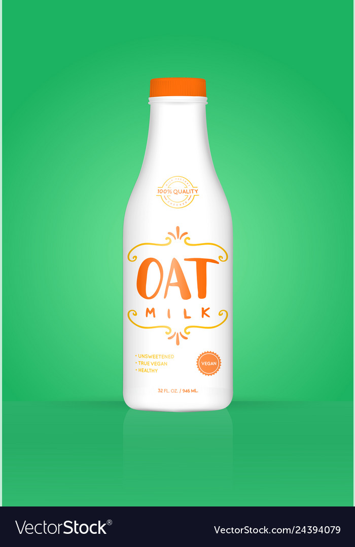 Oat milk oatmeal bottle with colorful background