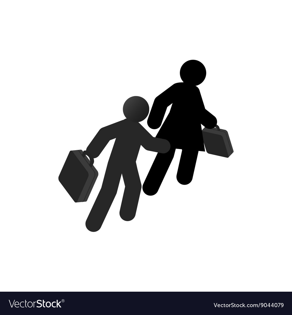 Refugees with suitcase icon isometric 3d style