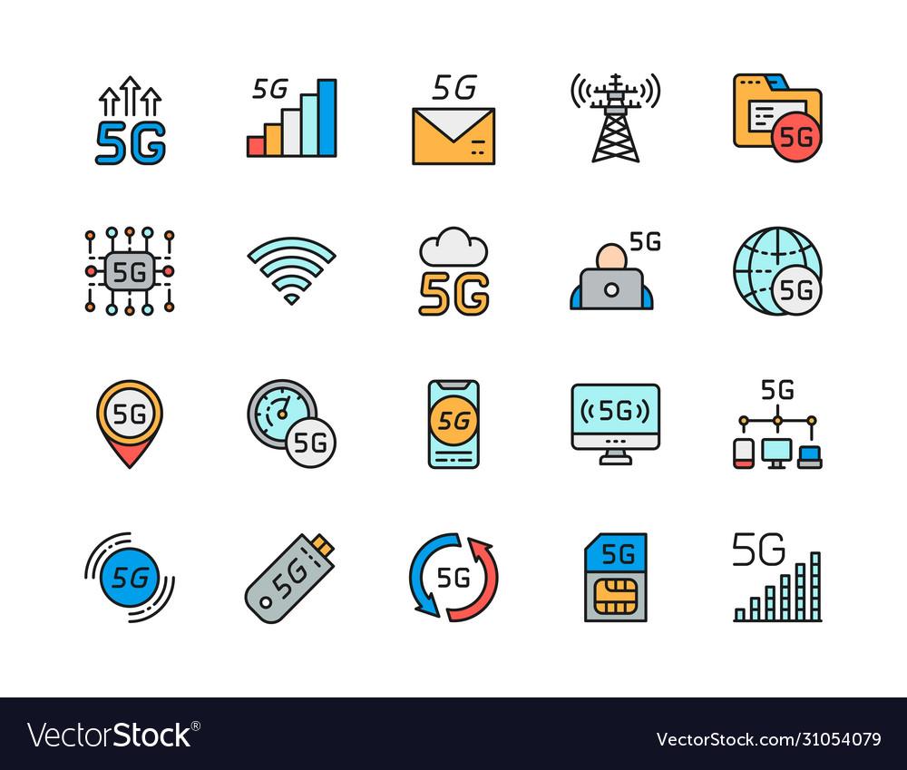 Set 5g internet color line icons network