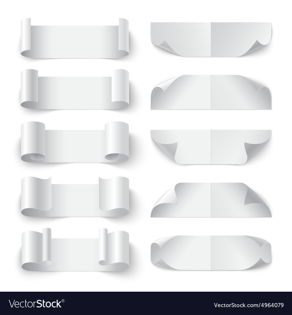 Set of curled blank paper banners with shadows on