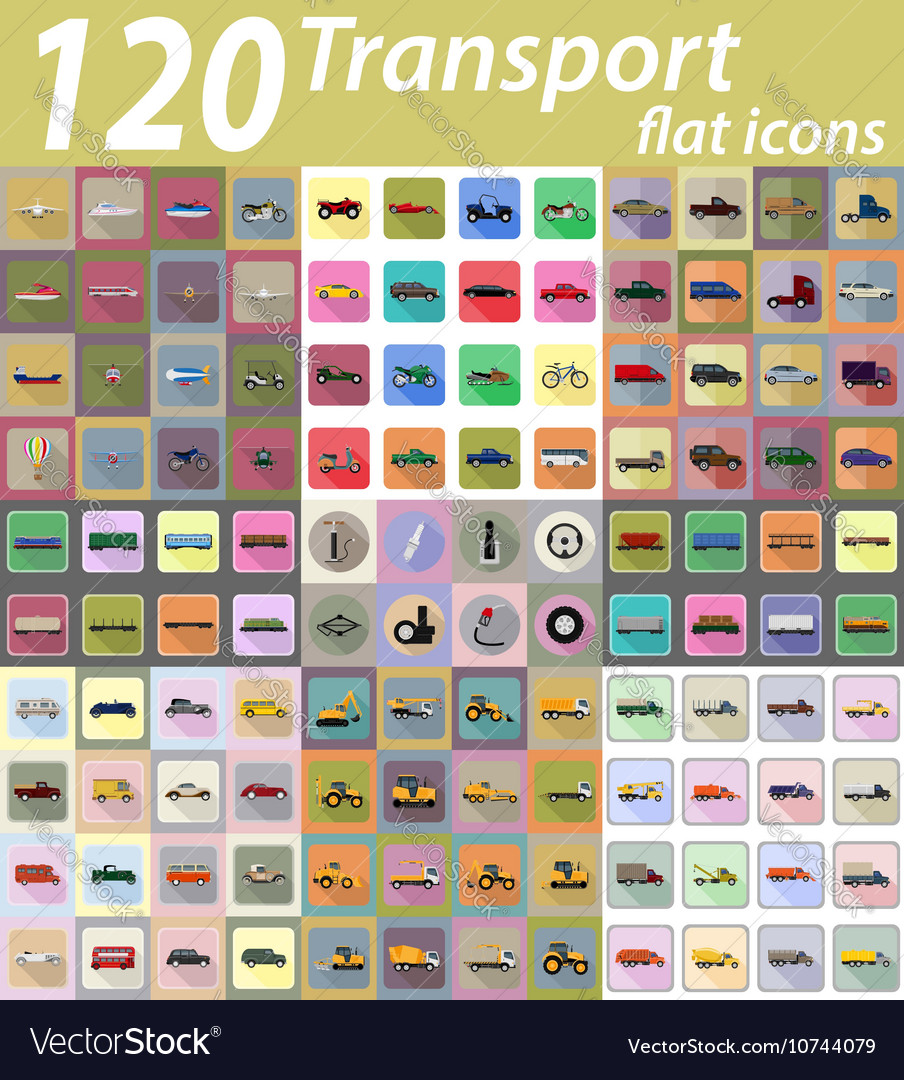 Set transport flat icons 04