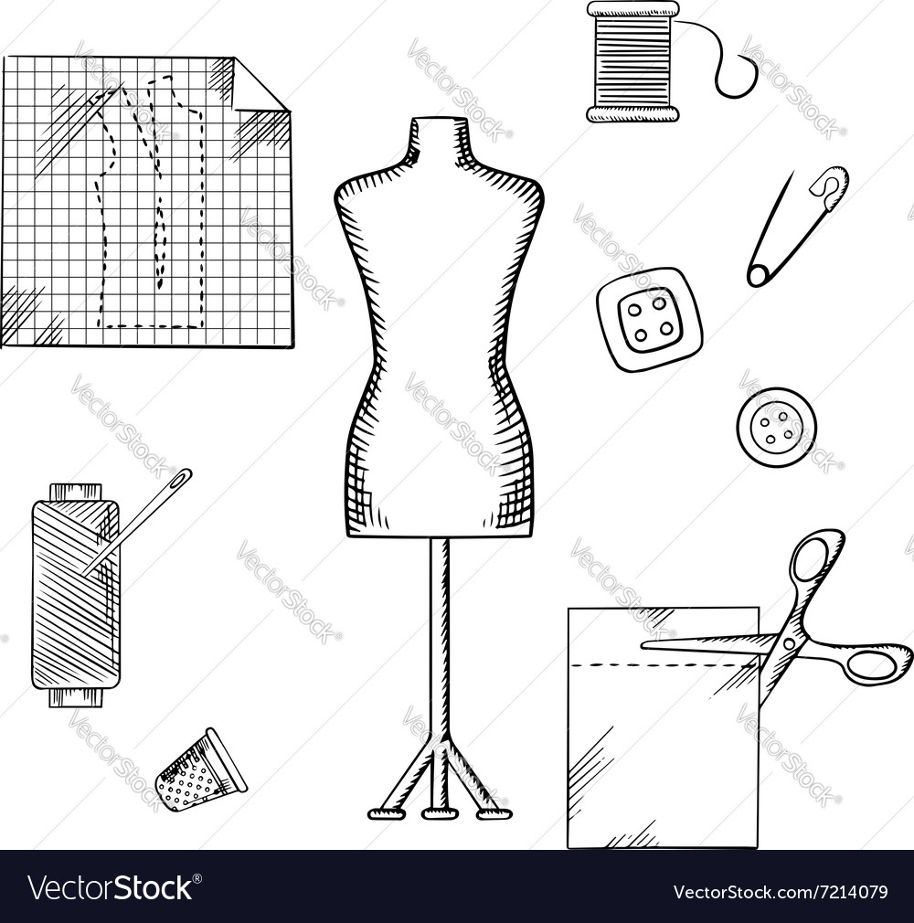 Tailoring or sewing sketched icons and objects