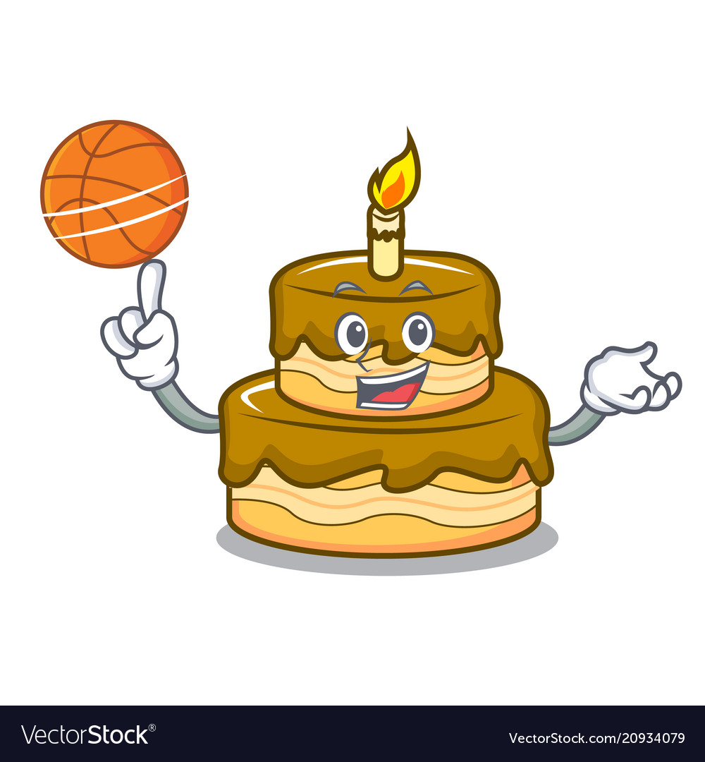 Swell With Basketball Birthday Cake Character Cartoon Vector Image Funny Birthday Cards Online Alyptdamsfinfo