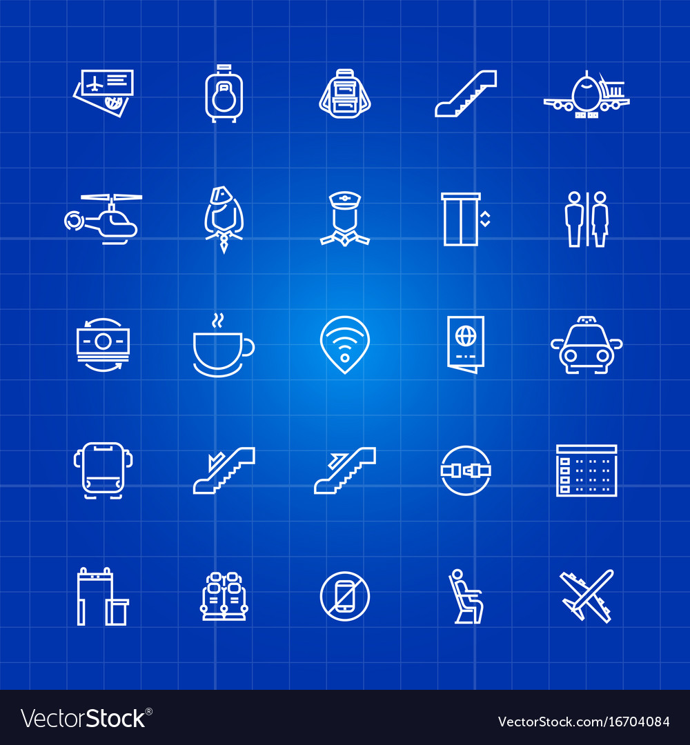 Aviation or airport outline icons set on blue vector image