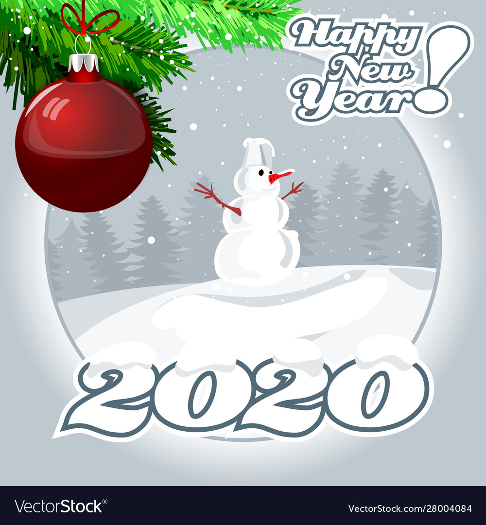 Christmas snowman with digits 2020 with a