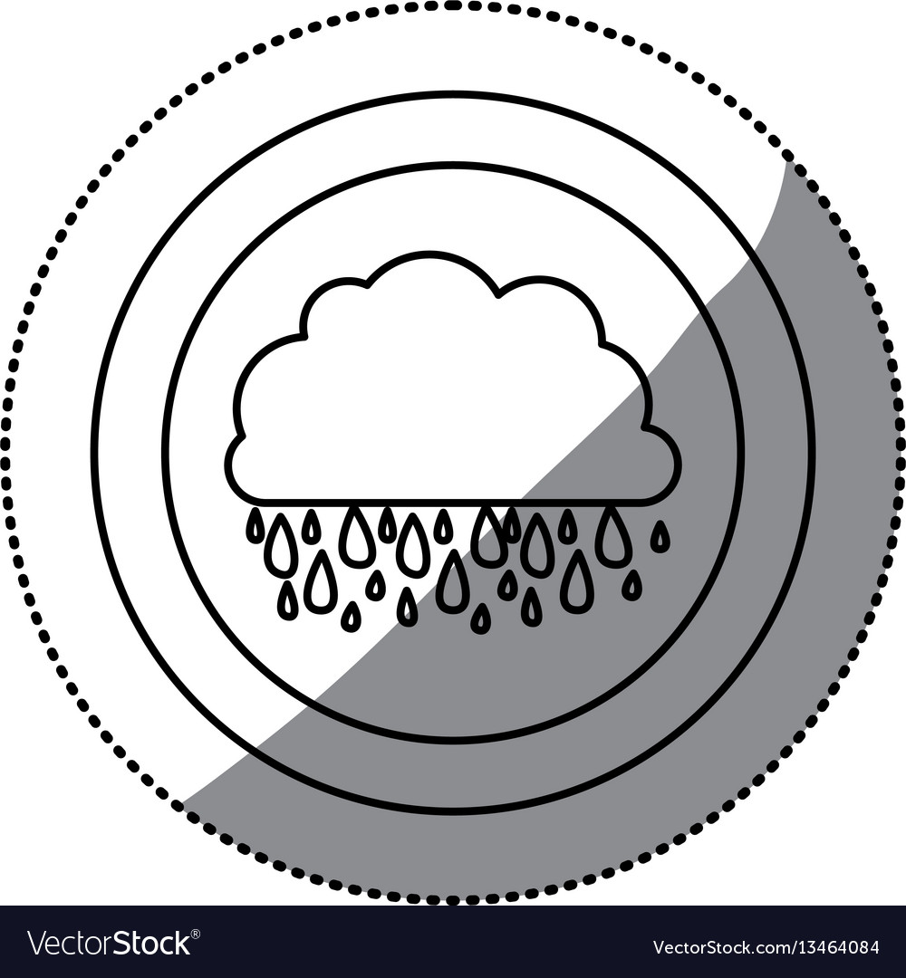 Contour cloud rainning icon