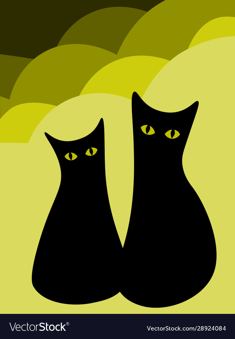 Cute Black Cat Couple With Yellow Eyes On Vector Image
