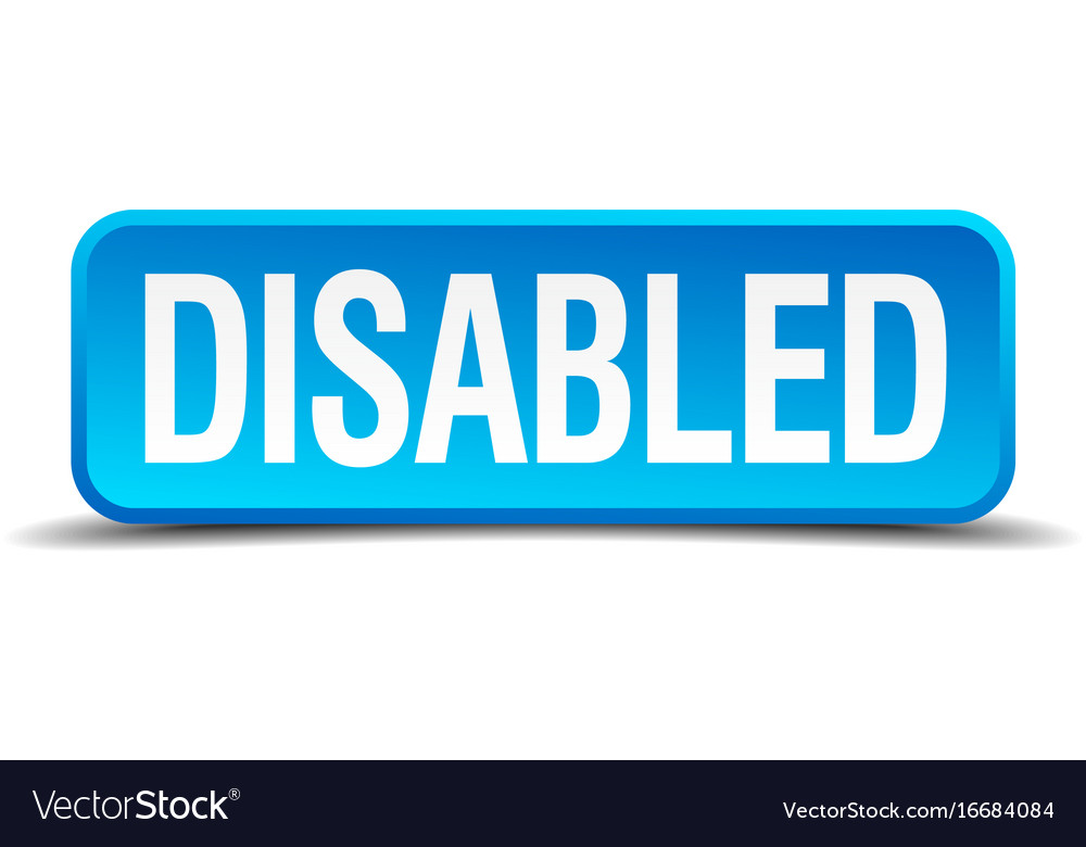 Disabled blue 3d realistic square isolated button