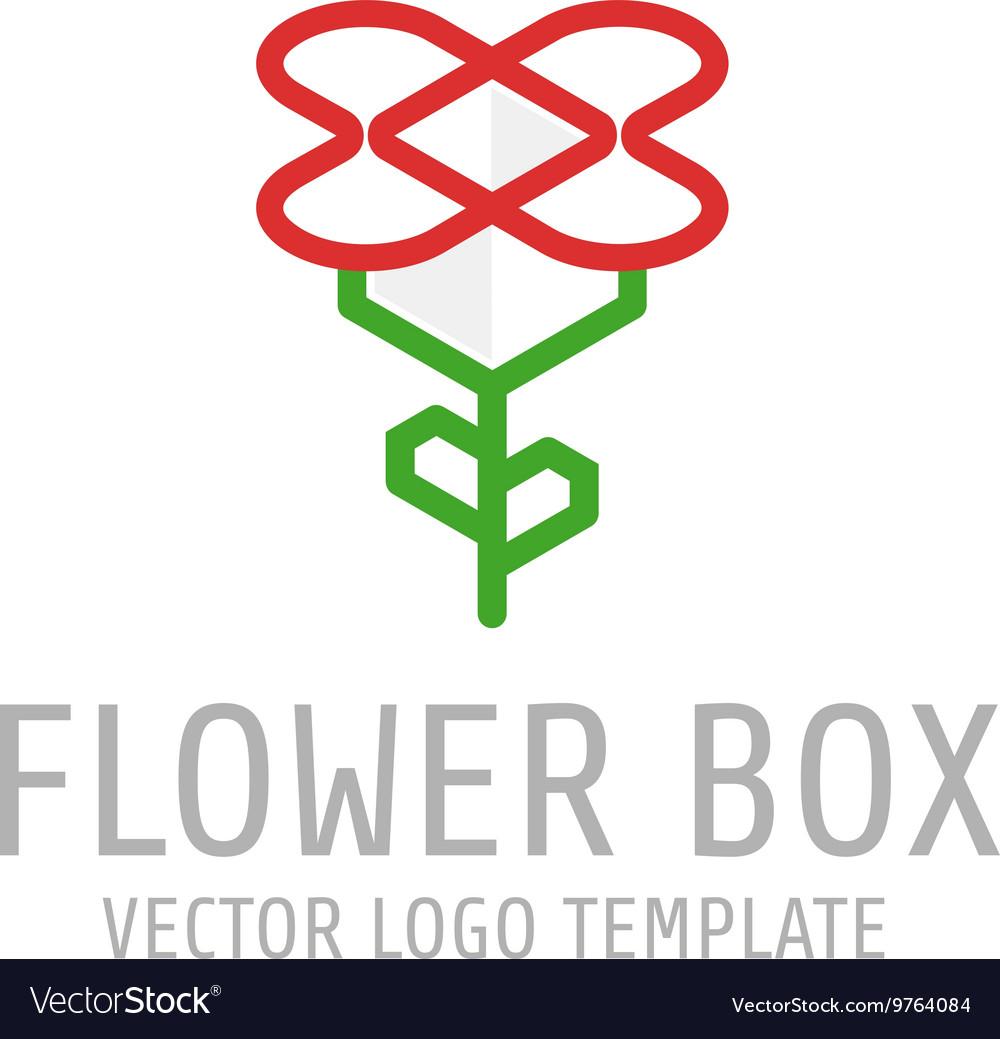 Flower box logo vector image