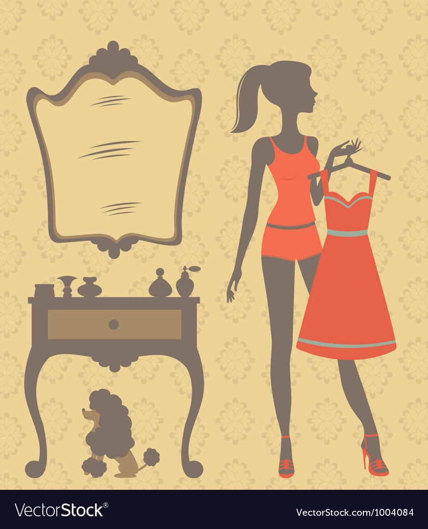 Girl dressing vector