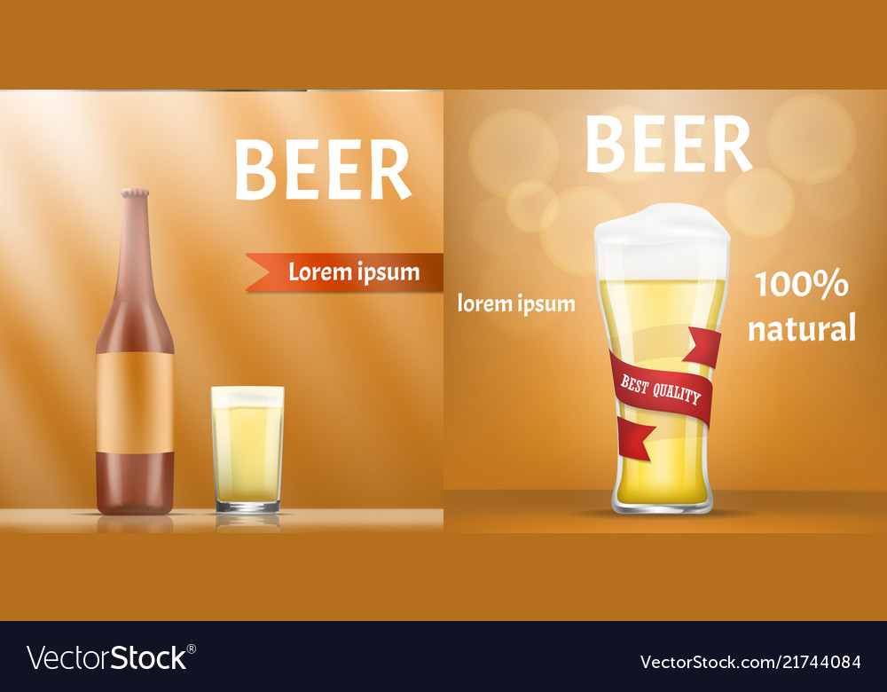 natural beer banner set realistic style royalty free vector