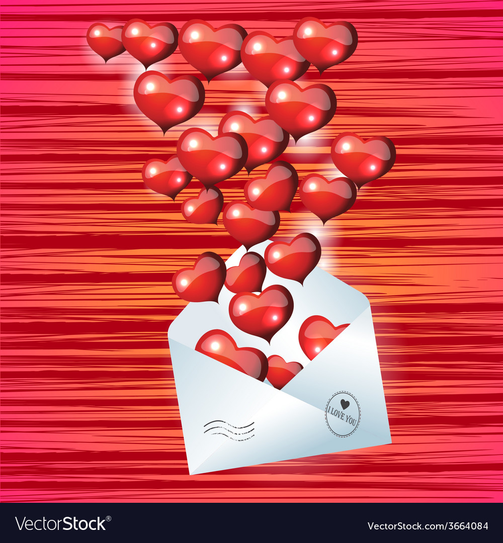 Open envelope with red heart on Valentines Day vector image