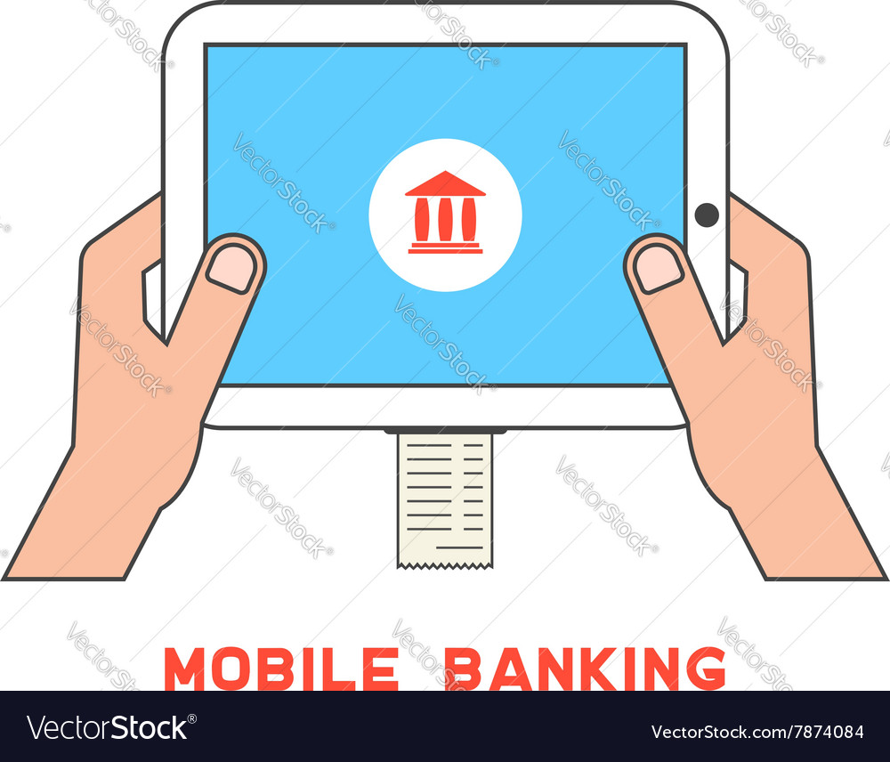 Outline tablet pc with bank check and hand vector image