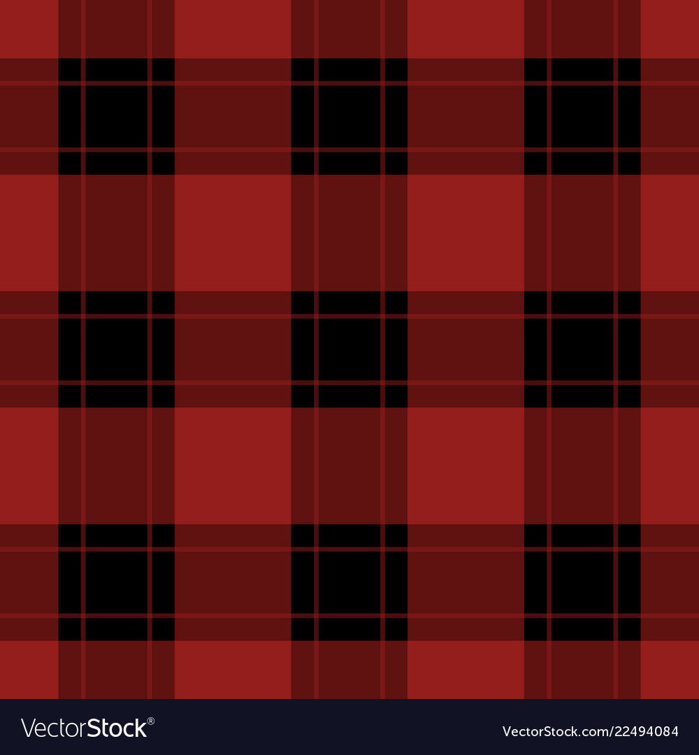 Seamless black red tartan with red stripes