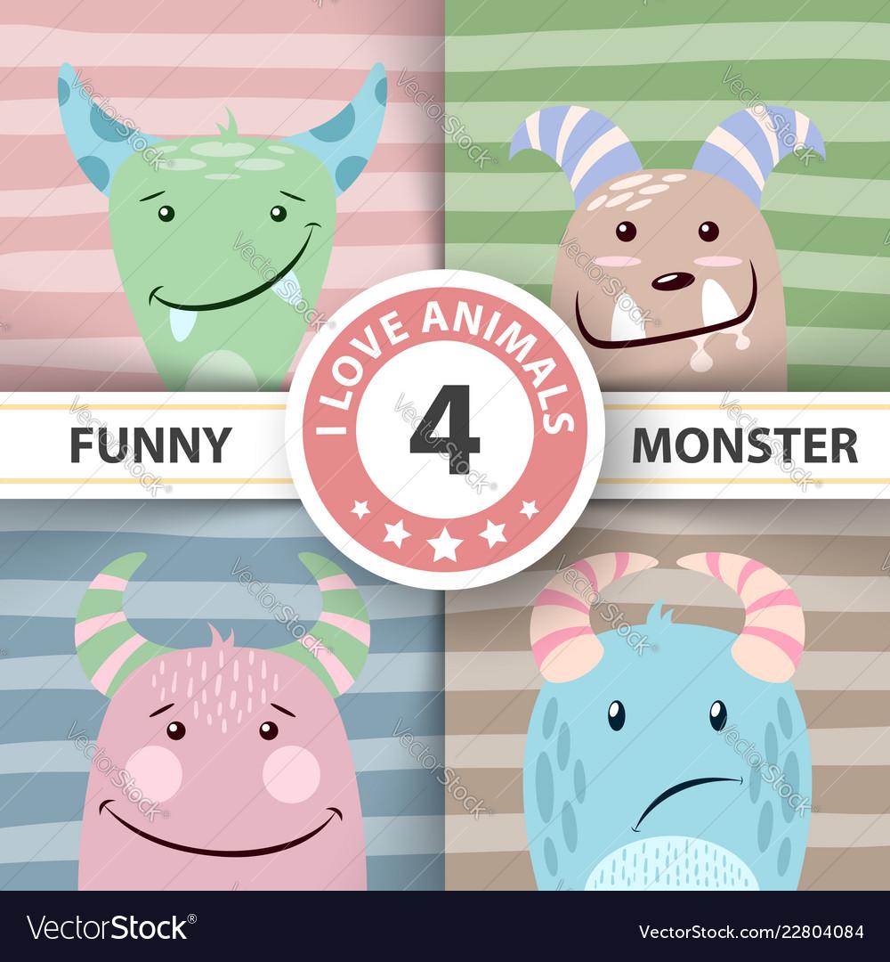 Set cute monster four items