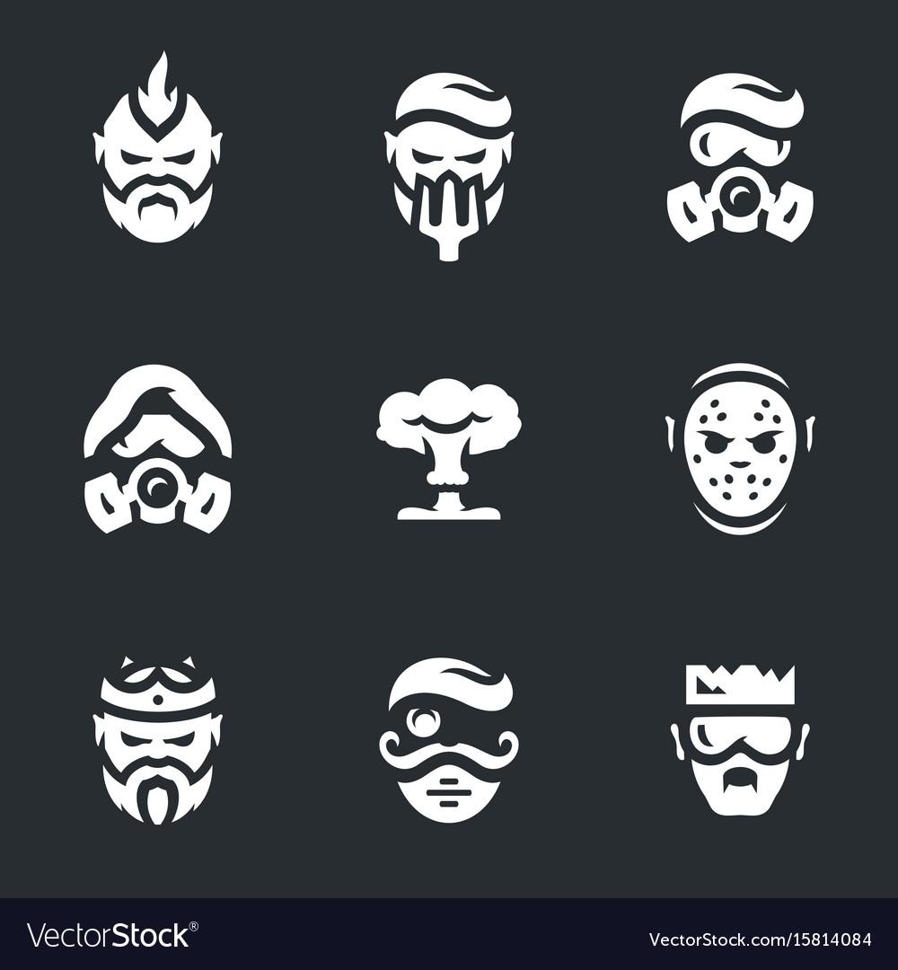Set of post-apocalypse characters icons vector image