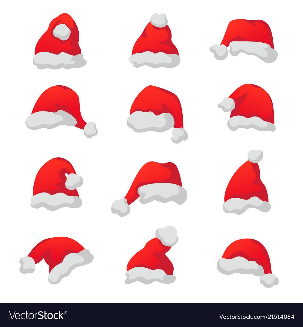 Set of red santa claus caps