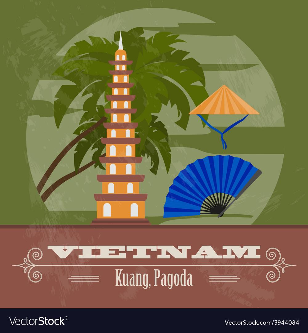 Vietnam landmarks Retro styled image