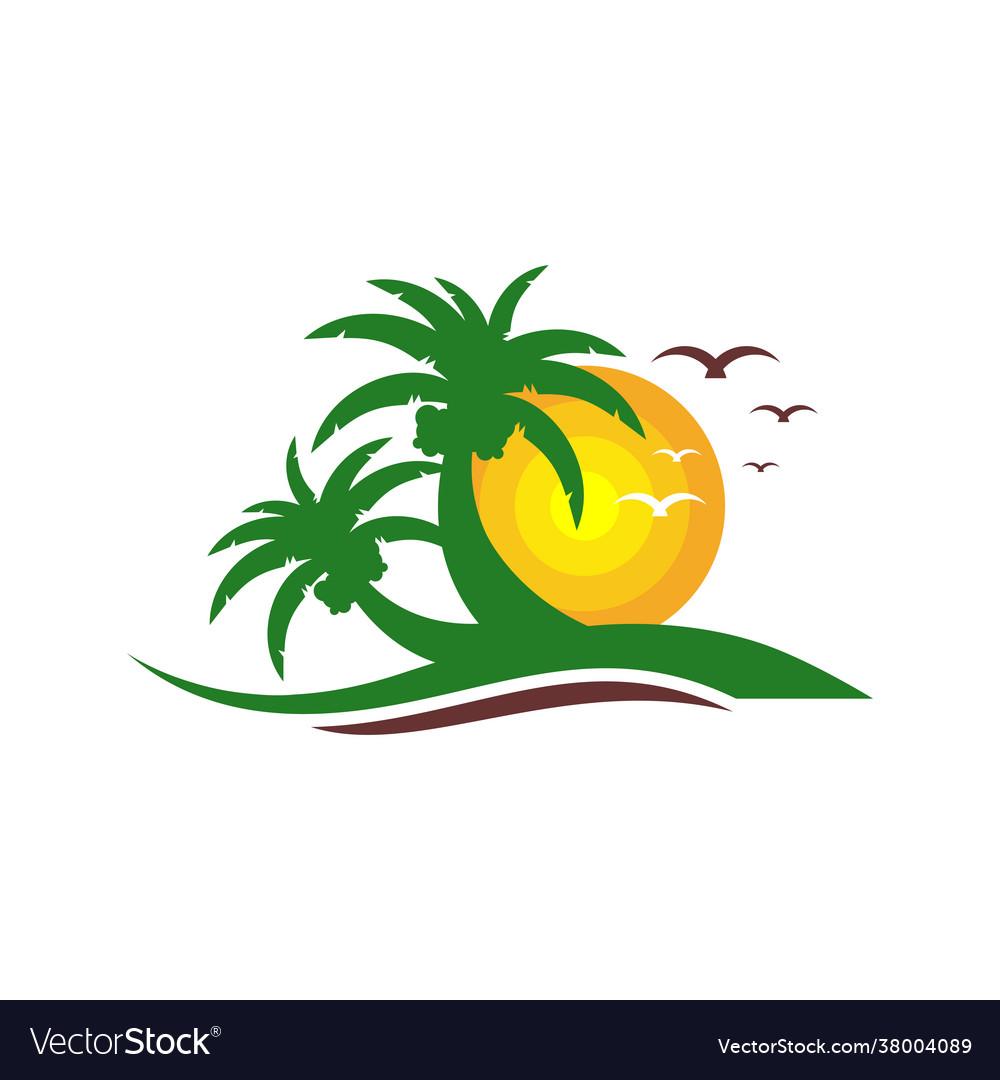 Beach vacation logo design