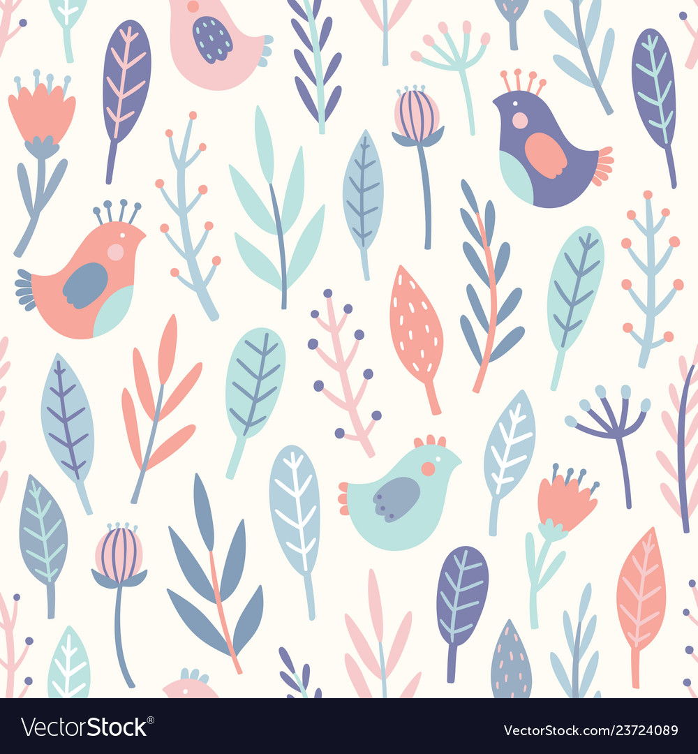 Cute birds and plants