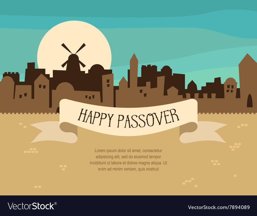 Happy passover greeting card design with jerusalem happy passover greeting card design with jerusalem vector image m4hsunfo