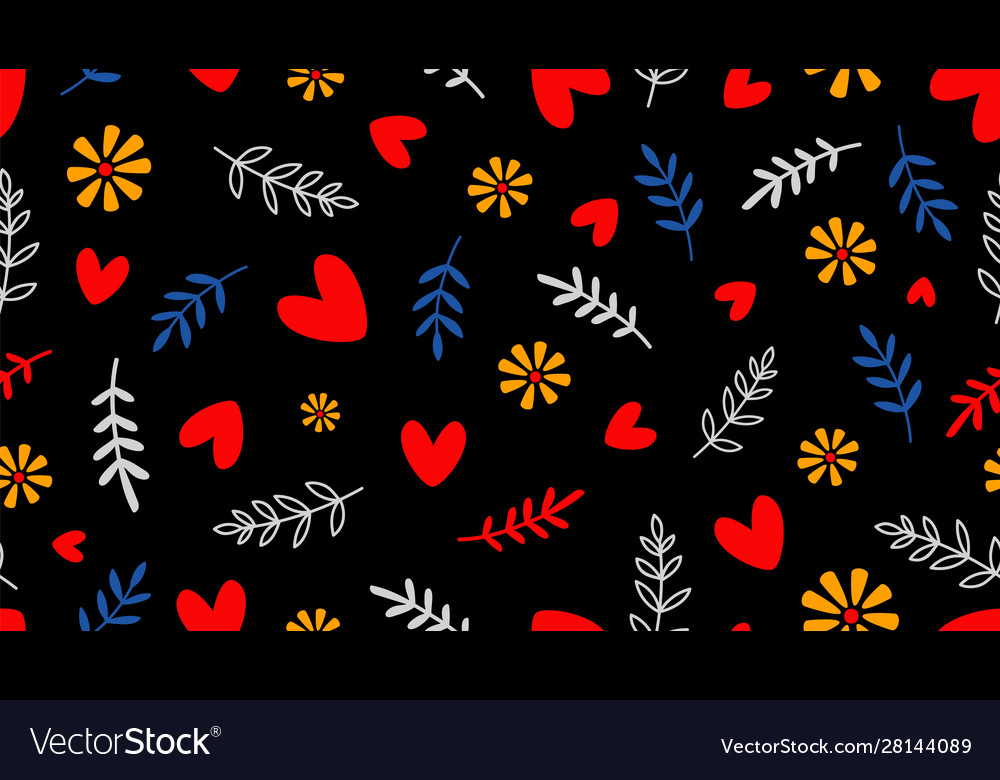 Hearts and floral elements background