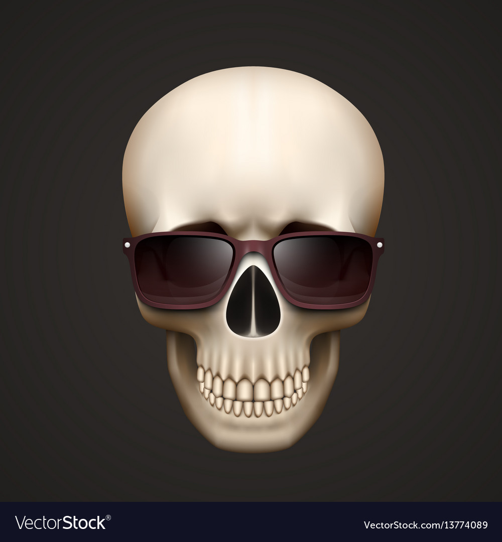 Human skull isolated with sunglasses