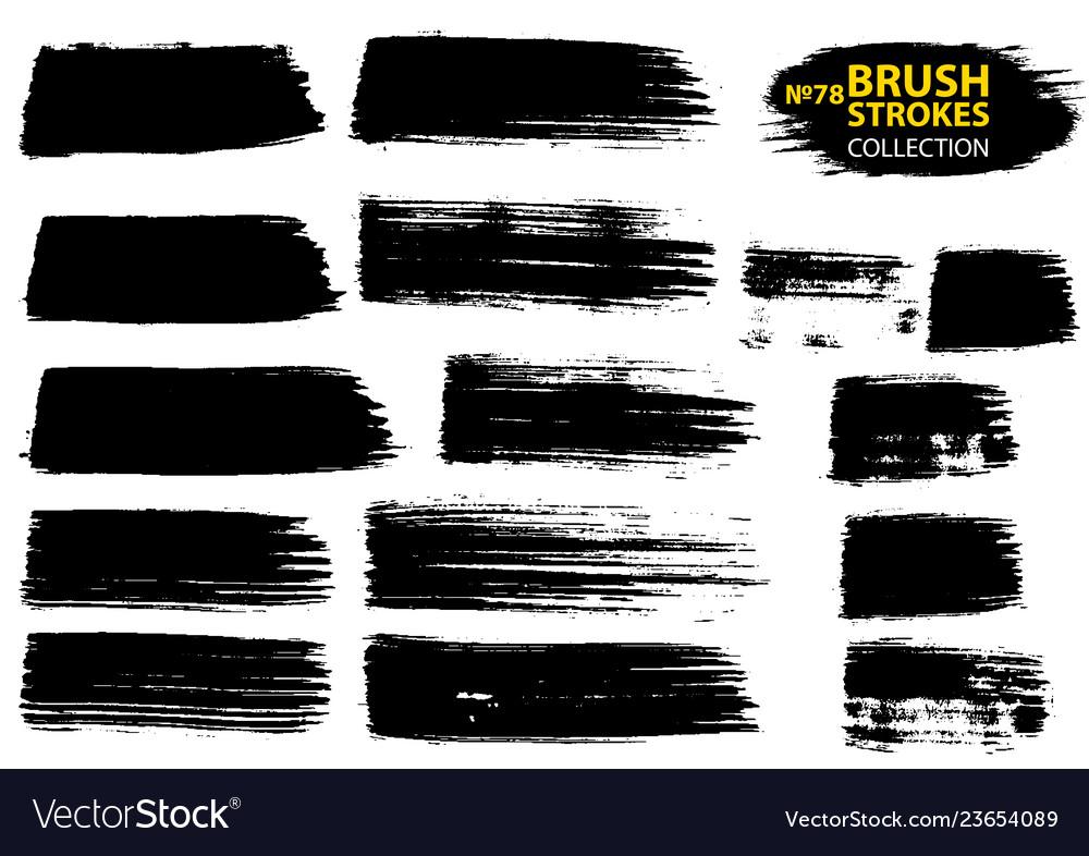 Large set different grunge brush strokes