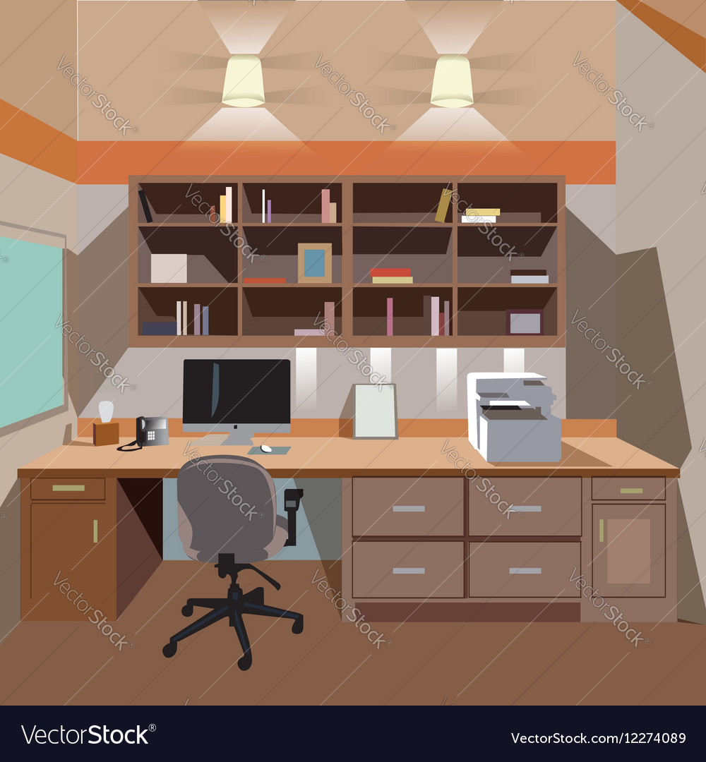 Modern home office interior with desktop