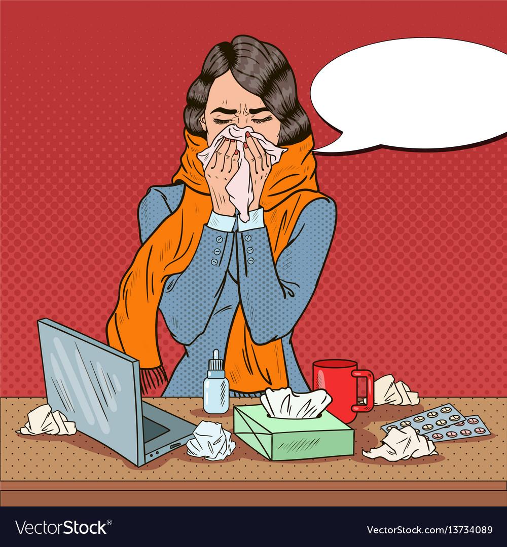 Pop art business woman feeling sick at work