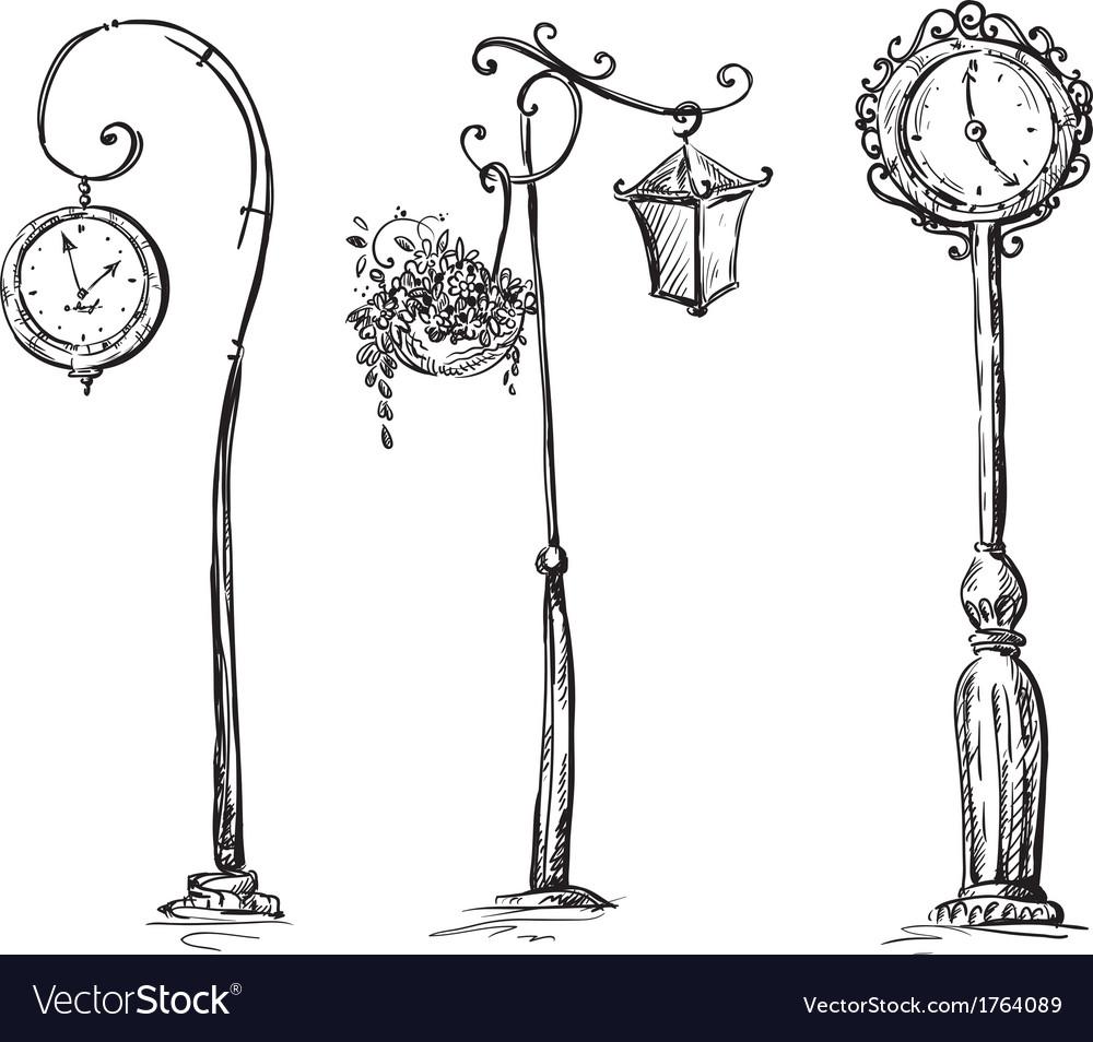 Street Clocks And A Lamp Post Hand Drawn Vector Image