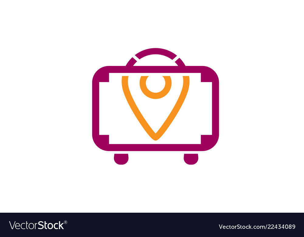 Suitcase travel finder symbol creative logo