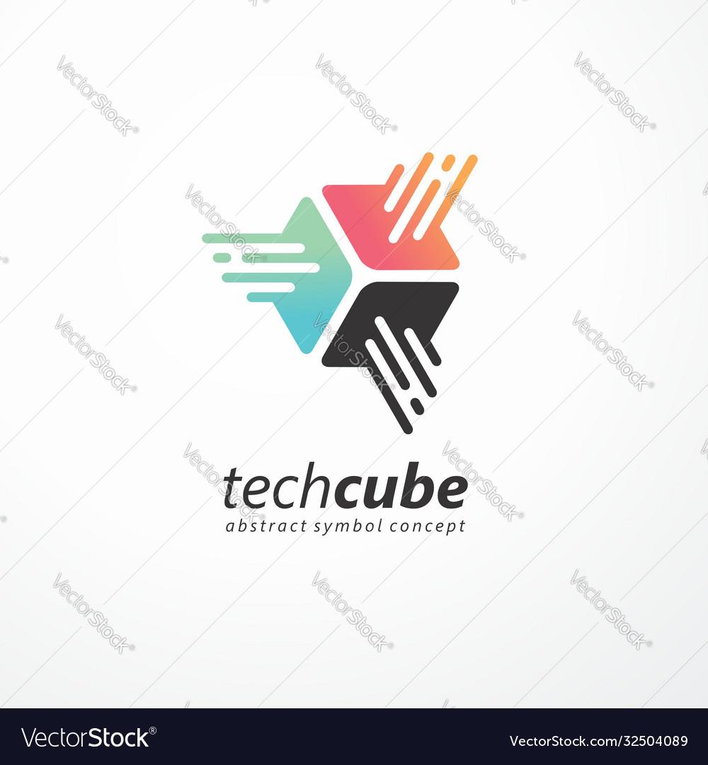 Tech cube logo design for internet technology