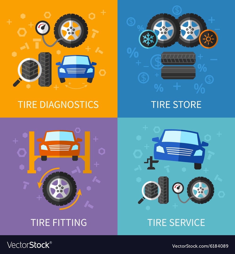 Tire service flat concepts set