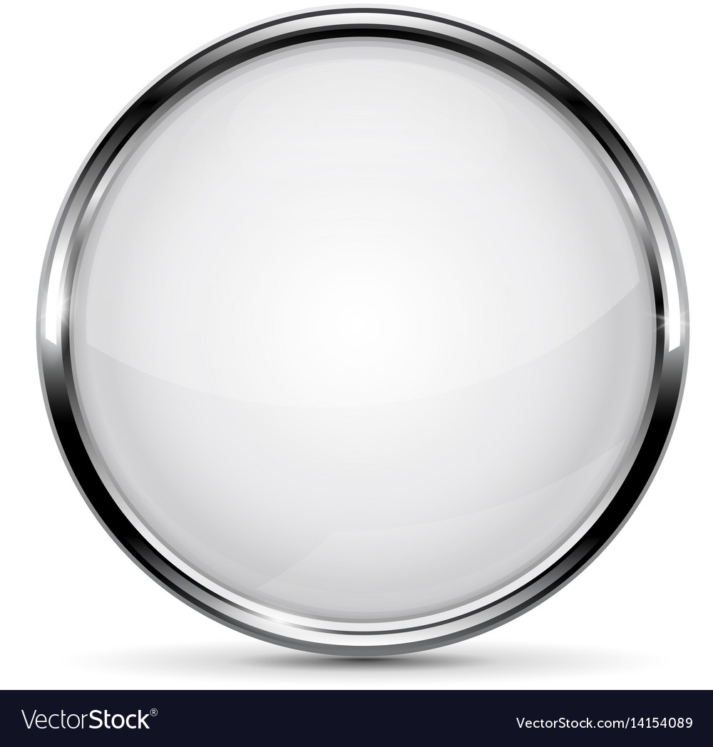 37342043002 White glass button with metal frame Royalty Free Vector