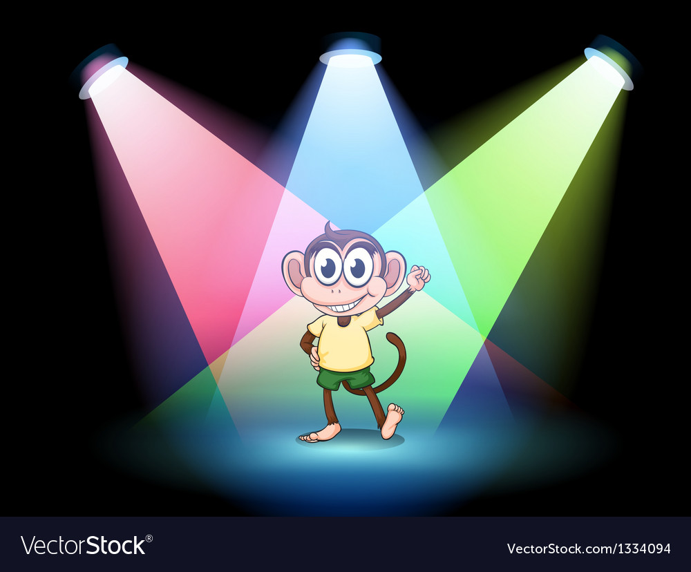 A stage with a male monkey at the center vector image