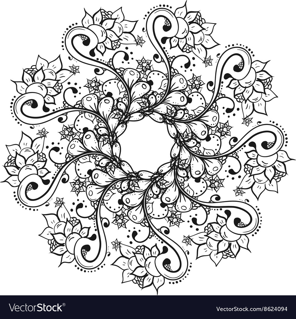 Abstract floral doodle background pattern A